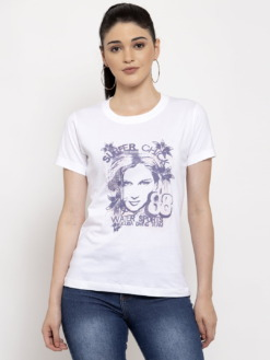 Super Chick Graphic White Printed Tee by Purplicious