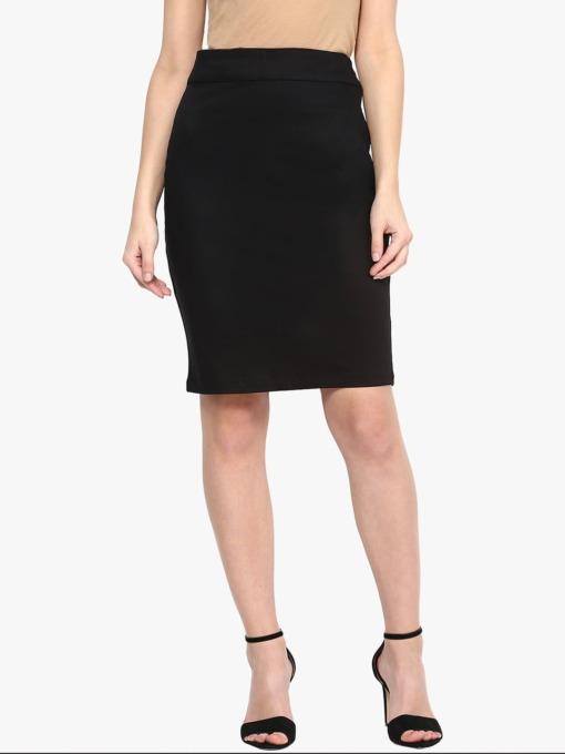 Black Formal Cotton Women Pencil Skirt Purplicious