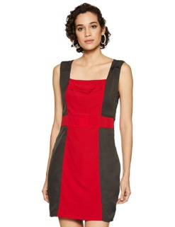 Red & Grey Pleated Sheath Dress