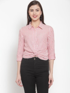 Pink & White Regular Fit Striped Casual Knotted Shirt by Purplicious