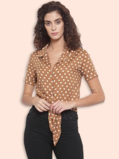 Brown & Off-White Polka Dots Slim Fit Printed Casual Shirt by Purplicious