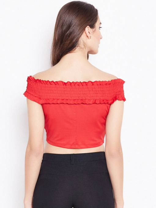 Purplicious Women Red Off Shoulder Solid Tube Top
