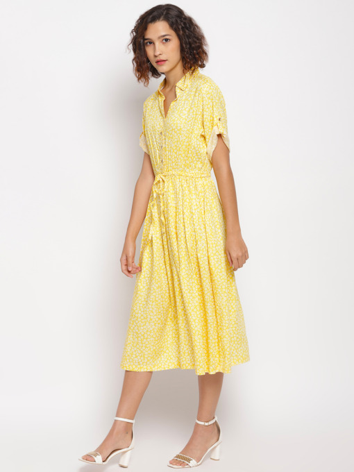 Yellow Golden Floral Printed Fit and Flare Dress