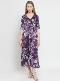 Purplicious Women Purple Printed Fit and Flare Dress