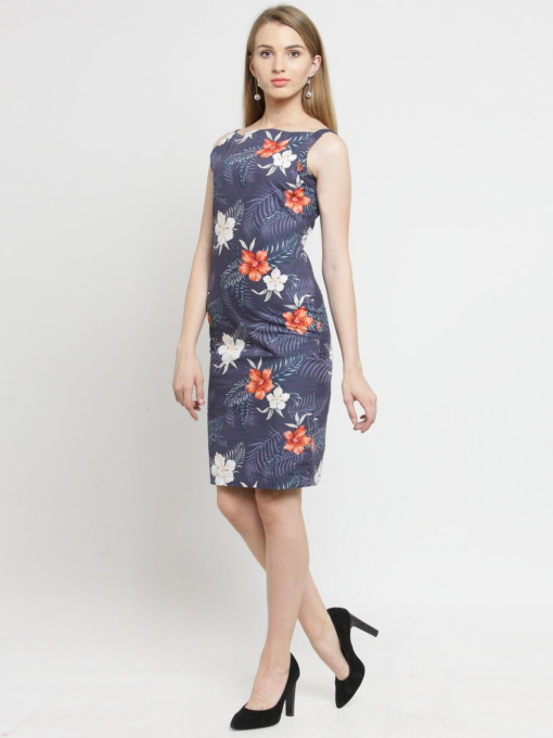 Grey and Orange Printed Woven Sheath Cotton Dress by Purplicious