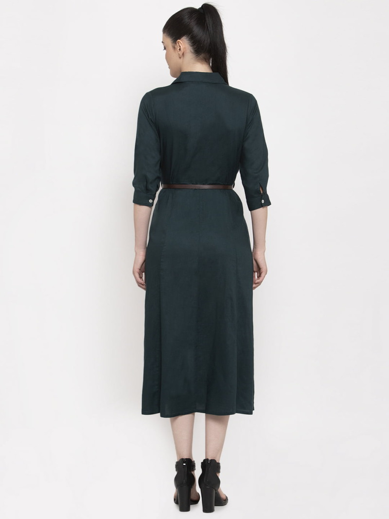 Teal Coloured Solid Shirt Dress with Belt BY Purplicious