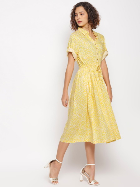 Yellow-Ditsy-Floral-Printed-Fit-and-Flare-Dress 2