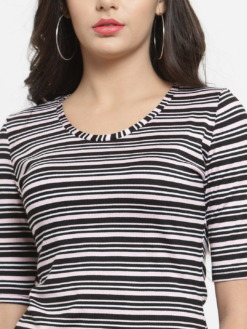 Purplicious Women Black & Pink Striped Round Neck T-shirt