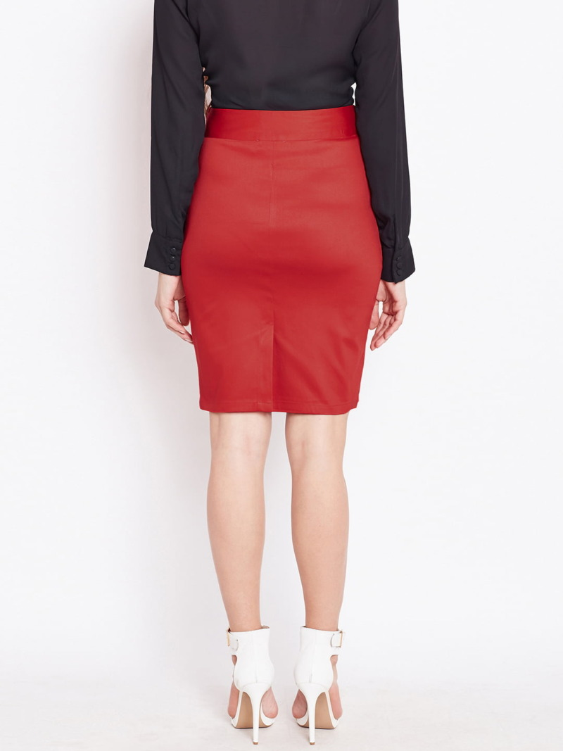 Red Formal Cotton Women Pencil Skirt Purplicious