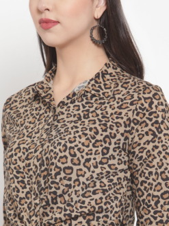 Purplicious Animal Printed Knot Casual Shirt
