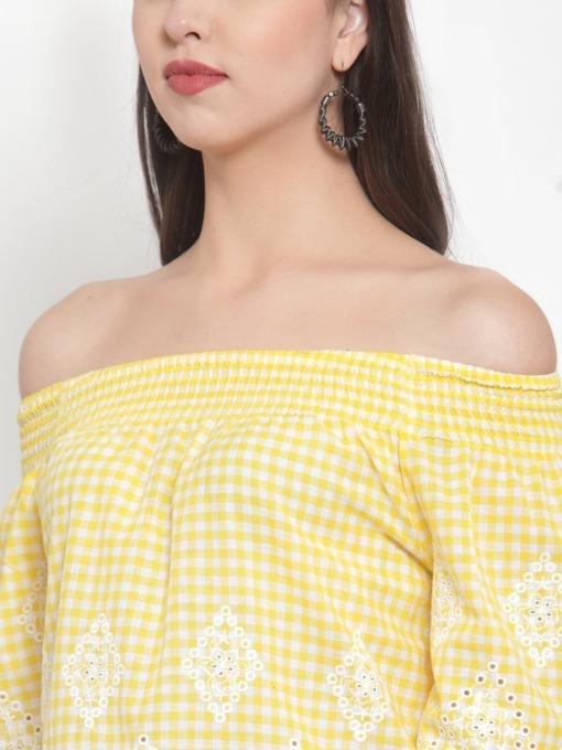 Yellow Checked Schiffli Bardot Embroidered Top By Purplicious