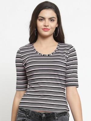 Purplicious Women Black & Pink Striped Round Neck T-shirt