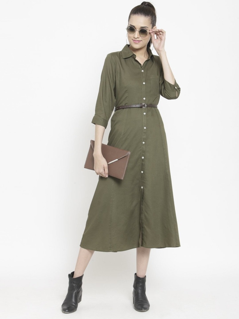 Purplicious Women Olive Green Solid Shirt Dress