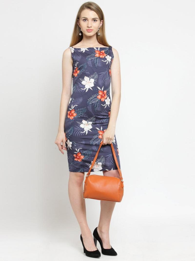 Grey and Orange Printed Woven Sheath Cotton Dress by Purplicious