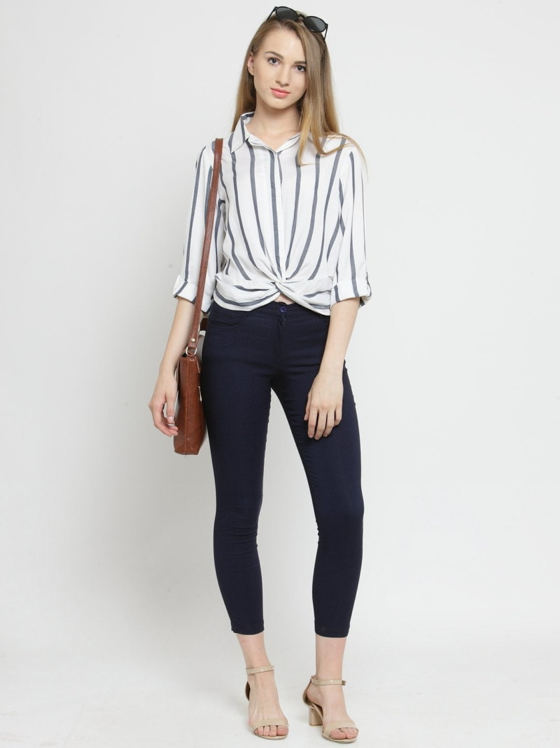 Purplicious Women Navy Blue Solid Three-Fourth Length Jeggings