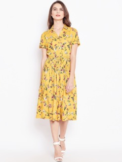 Purplicious Mustard Floral Printed Fit and Flare Dress