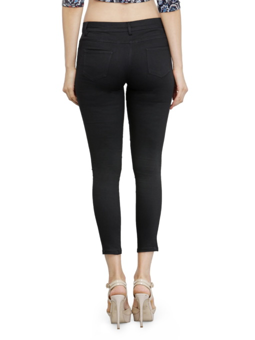 Black Cotton Jeggings with Side and Back Pockets