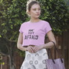 I am not afraid pink crop top by Purplicious