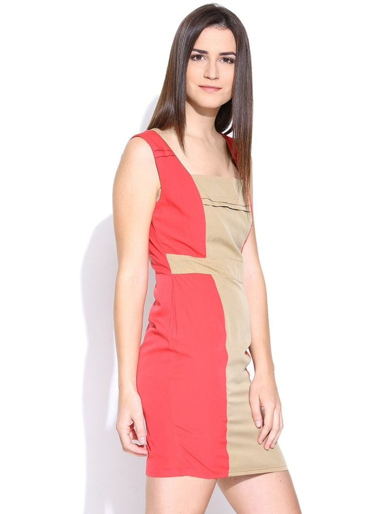 Coral Pink & Beige Sheath Dress by purplicious for women