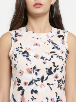 PURPLICIOUS FLORAL PEACH BODYCON DRESS