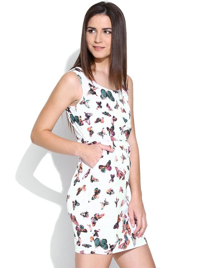 CREPE BUTTERFLY PRINTED BODYCON DRESS WITH POCKETS purplicious