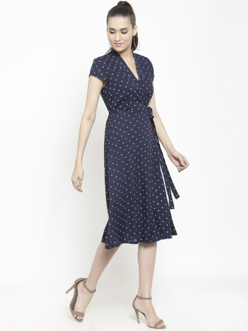 Purplicious Women Navy Blue Printed Wrap Dress