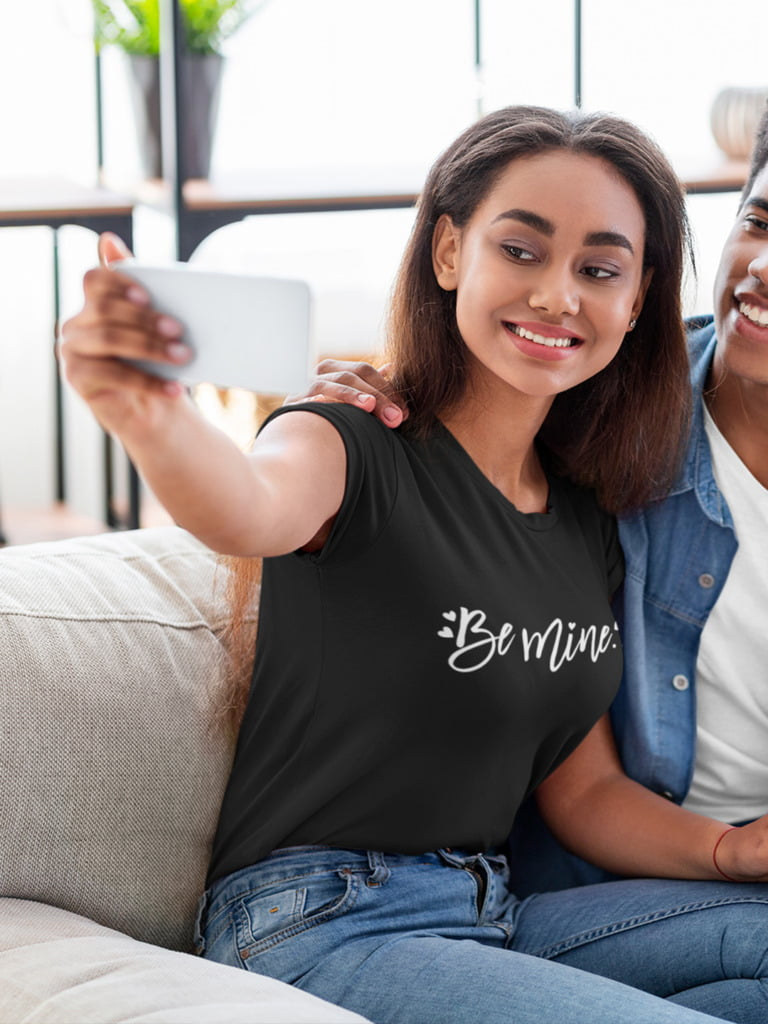 Be Mine Womens T-shirt In Maroon Black and Navy 7