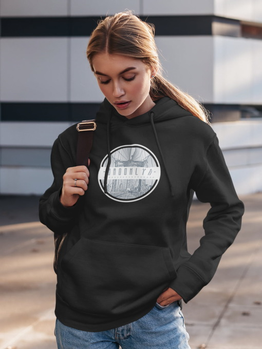 Brooklyn Graphic Hoodie in Black Olive and Navy