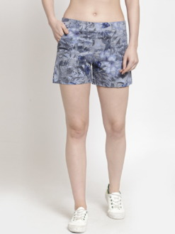 Purplicious Women Grey Printed Regular Fit Regular Shorts