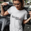 Love You More Calligraphy T-shirt in White and Pink 8