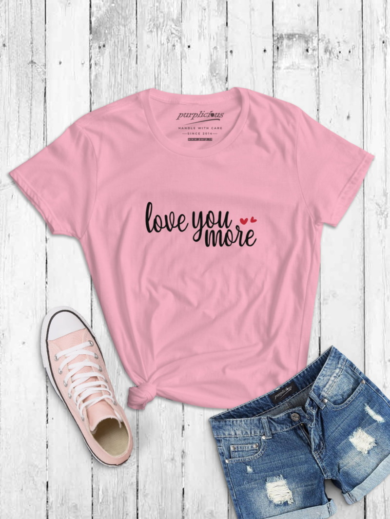 Love You More Calligraphy T-shirt in White and Pink 3