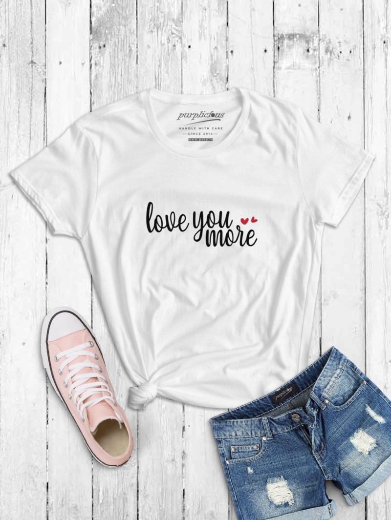 Love You More Calligraphy T-shirt in White and Pink 2